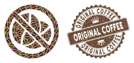 Mosaic no caffeine and corroded stamp seal with Original Coffee phrase. Mosaic vector no caffeine is formed with beans. Original Coffee stamp uses brown color.