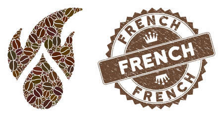Mosaic fired water drop and distressed stamp seal with French caption. Mosaic vector fired water drop is formed with grain. French seal uses brown color. Çizim