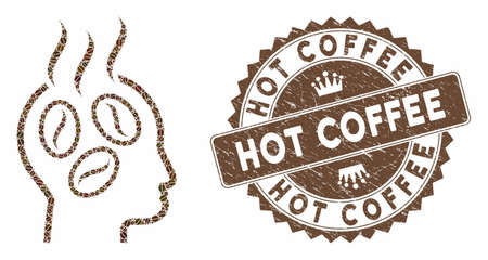 Mosaic coffee dreams head and grunge stamp seal with Hot Coffee text. Mosaic vector coffee dreams head is designed with beans. Hot Coffee seal uses chocolate color.
