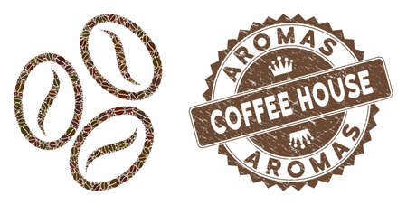 Mosaic cacao beans and grunge stamp seal with Aromas Coffee House caption. Mosaic vector cacao beans is composed with seeds. Aromas Coffee House seal uses chocolate color.