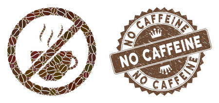 Mosaic forbidden coffee and corroded stamp watermark with No Caffeine phrase. Mosaic vector forbidden coffee is created with seeds. No Caffeine stamp uses brown color. Ilustração