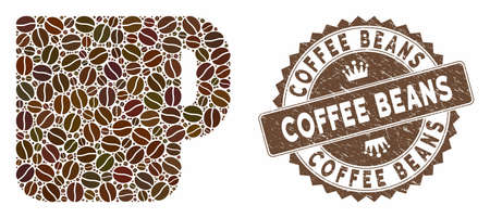 Mosaic coffee cup and corroded stamp seal with Coffee Beans caption. Mosaic vector coffee cup is created with beans. Coffee Beans seal uses chocolate color.