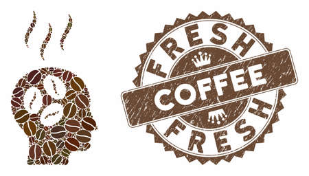 Mosaic coffee dream head and grunge stamp seal with Fresh Coffee caption. Mosaic vector coffee dream head is formed with grain. Fresh Coffee seal uses brown color.