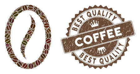Mosaic coffee bean and corroded stamp seal with Best Quality Coffee phrase. Mosaic vector coffee bean is designed with beans. Best Quality Coffee seal uses brown color.  イラスト・ベクター素材