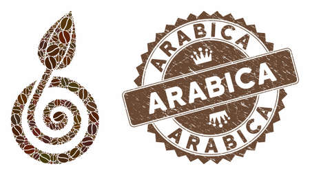 Mosaic bud sprout and rubber stamp seal with Arabica text. Mosaic vector bud sprout is created with grain. Arabica stamp uses chocolate color.