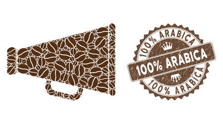 Mosaic advertising megaphone and corroded stamp watermark with 100% Arabica caption. Mosaic vector advertising megaphone is formed with seeds. 100% Arabica stamp uses brown color.