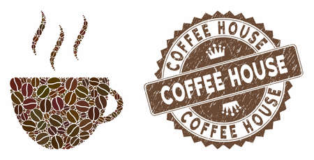 Mosaic coffee cup and rubber stamp seal with Coffee House text. Mosaic vector coffee cup is composed with grain. Coffee House stamp uses brown color.
