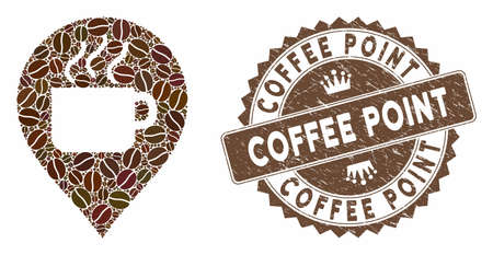 Mosaic coffee cup marker and corroded stamp watermark with Coffee Point caption. Mosaic vector coffee cup marker is designed with seeds. Coffee Point stamp uses chocolate color.