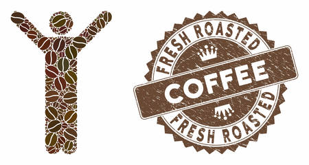 Mosaic happy man and rubber stamp seal with Fresh Roasted Coffee text. Mosaic vector happy man is composed with seeds. Fresh Roasted Coffee seal uses chocolate color.