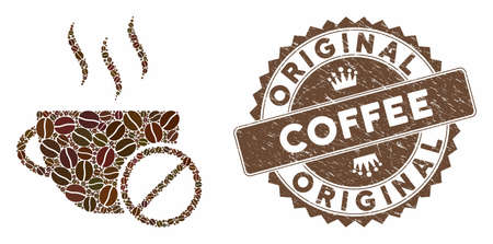 Mosaic no coffee and distressed stamp watermark with Original Coffee phrase. Mosaic vector no coffee is designed with grain. Original Coffee stamp uses brown color.