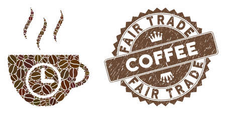 Mosaic coffee time and distressed stamp seal with Fair Trade Coffee caption. Mosaic vector coffee time is created with seeds. Fair Trade Coffee stamp uses brown color.