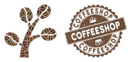 Mosaic coffee tree and distressed stamp seal with Coffeeshop caption. Mosaic vector coffee tree is created with beans. Coffeeshop stamp uses brown color.  イラスト・ベクター素材