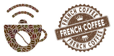 Mosaic coffee wifi source and corroded stamp seal with French Coffee text. Mosaic vector coffee wifi source is formed with seeds. French Coffee seal uses chocolate color. Çizim