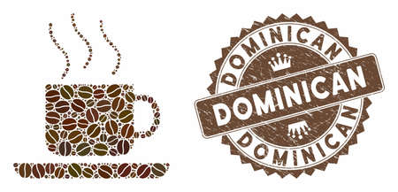 Mosaic coffee-break and rubber stamp watermark with Dominican phrase. Mosaic vector coffee-break is created with beans. Dominican stamp uses chocolate color. Ilustração