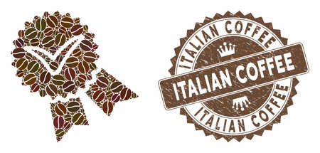 Mosaic quality badge and rubber stamp watermark with Italian Coffee phrase. Mosaic vector quality badge is created with beans. Italian Coffee stamp uses chocolate color.