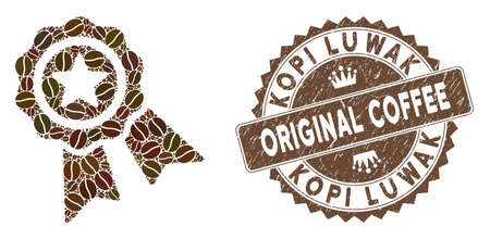 Mosaic quality seal and distressed stamp seal with Kopi Luwak Original Coffee caption. Mosaic vector quality seal is created with grain. Kopi Luwak Original Coffee seal uses chocolate color.
