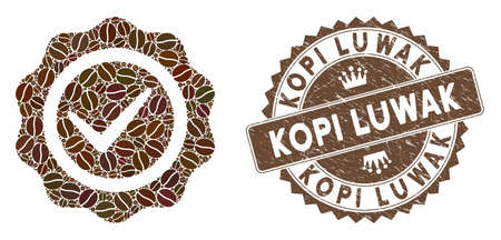 Mosaic quality seal and grunge stamp watermark with Kopi Luwak caption. Mosaic vector quality seal is composed with seeds. Kopi Luwak stamp uses chocolate color. Vetores