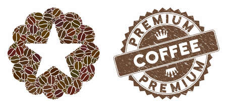 Mosaic star quality sticker and corroded stamp watermark with Premium Coffee text. Mosaic vector star quality sticker is formed with seeds. Premium Coffee stamp uses brown color.