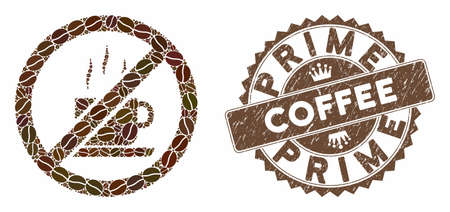 Mosaic stop coffee and rubber stamp seal with Prime Coffee text. Mosaic vector stop coffee is composed with seeds. Prime Coffee stamp uses brown color.
