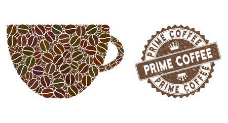 Mosaic tea cup and corroded stamp seal with Prime Coffee caption. Mosaic vector tea cup is formed with beans. Prime Coffee stamp uses brown color.