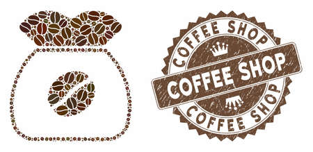 Mosaic coffee grain and grunge stamp seal with Coffee Shop text. Mosaic vector coffee grain is composed with grain. Coffee Shop seal uses chocolate color.