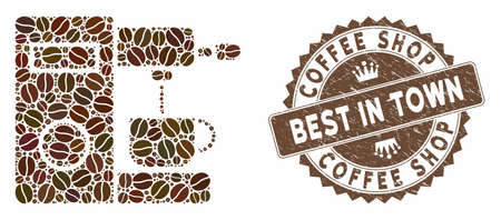 Mosaic coffee machine and distressed stamp watermark with Coffee Shop Best in Town caption. Mosaic vector coffee machine is created with grain. Coffee Shop Best in Town stamp uses brown color.  イラスト・ベクター素材