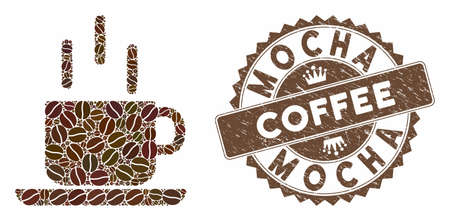 Mosaic coffee mug and corroded stamp seal with Mocha Coffee caption. Mosaic vector coffee mug is designed with beans. Mocha Coffee stamp uses brown color. Ilustração