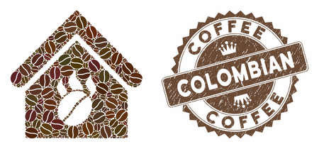 Mosaic coffee shop and corroded stamp seal with Coffee Colombian caption. Mosaic vector coffee shop is composed with seeds. Coffee Colombian stamp uses brown color.  イラスト・ベクター素材