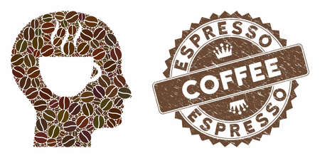Mosaic coffee thinking and grunge stamp watermark with Espresso Coffee text. Mosaic vector coffee thinking is designed with seeds. Espresso Coffee stamp uses brown color. Ilustração