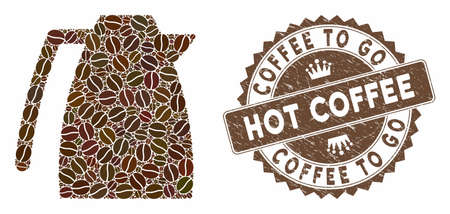 Mosaic coffee pot and rubber stamp watermark with Coffee to Go Hot Coffee text. Mosaic vector coffee pot is designed with grain. Stamp uses chocolate color.