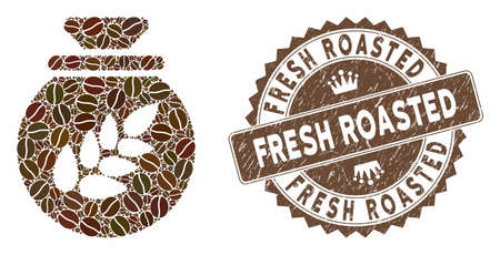 Mosaic grain harvest sack and corroded stamp seal with Fresh Roasted text. Mosaic vector grain harvest sack is designed with grain. Fresh Roasted stamp uses chocolate color.