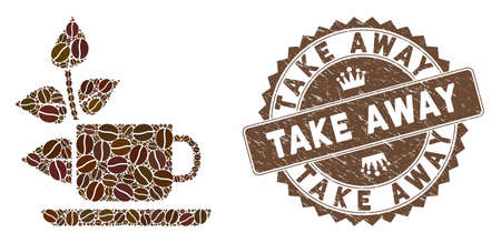 Mosaic vegan drink and distressed stamp seal with Take Away caption. Mosaic vector vegan drink is composed with beans. Take Away seal uses brown color.