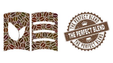 Mosaic vegan menu and grunge stamp seal with The Perfect Blend phrase. Mosaic vector vegan menu is composed with grain. The Perfect Blend stamp uses brown color.