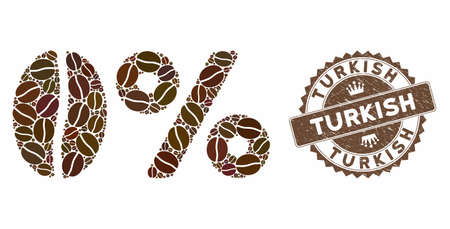 Mosaic zero caffeine and rubber stamp watermark with Turkish text. Mosaic vector zero caffeine is designed with beans. Turkish stamp uses chocolate color.