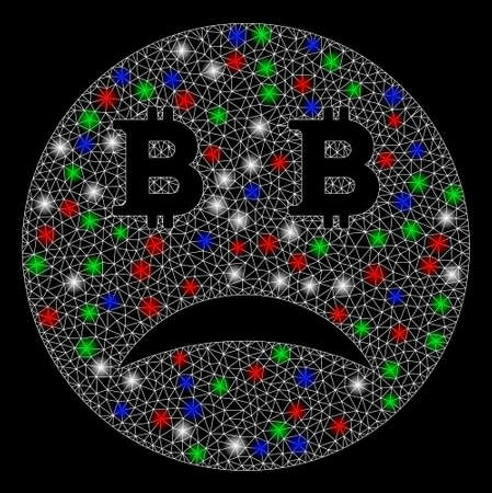 Bright mesh sad Bitcoin smiley with lightspot effect. White wire frame polygonal mesh in vector format on a black background. Abstract 2d mesh created from polygonal grid, spheric points,
