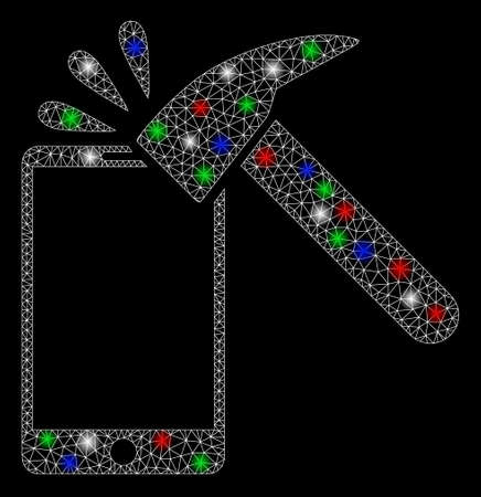 Bright mesh hammer break smartphone with glow effect. White wire carcass polygonal mesh in vector format on a black background. Abstract 2d mesh designed with polygonal grid, spheric points, Illustration