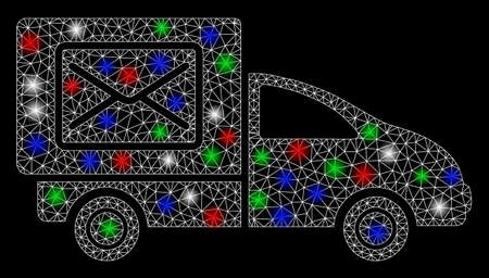 Bright mesh post delivery car with glare effect. White wire carcass triangular mesh in vector format on a black background. Abstract 2d mesh built from triangular lines, spheric points,