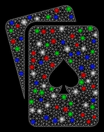 Bright mesh peaks playing cards with glare effect. White wire carcass polygonal mesh in vector format on a black background. Abstract 2d mesh created from polygonal grid, small circle, Ilustrace