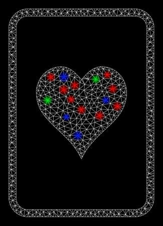 Bright mesh hearts gambling card with glare effect. White wire carcass polygonal mesh in vector format on a black background. Abstract 2d mesh created from polygonal grid, spheric points, Ilustrace
