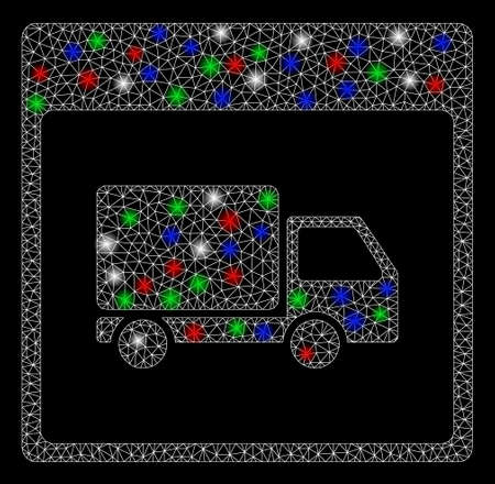 Bright mesh shipment truck calendar page with glare effect. White wire carcass triangular mesh in vector format on a black background. Abstract 2d mesh designed with polygonal grid, points,