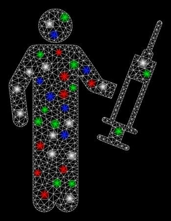 Bright mesh drug dealer with glow effect. White wire frame polygonal mesh in vector format on a black background. Abstract 2d mesh designed with triangular lines, small circle, colored flare spots.
