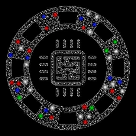 Bright mesh CPU casino chip with lightspot effect. White wire carcass triangular network in vector format on a black background. Abstract 2d mesh designed with triangular lines, points,