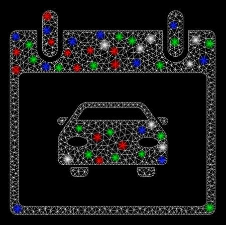 Bright mesh car calendar day with glow effect. White wire carcass triangular mesh in vector format on a black background. Abstract 2d mesh designed with triangular lines, round dots, Ilustração