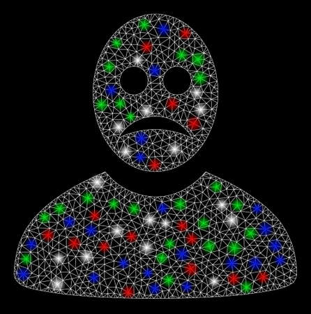 Bright mesh sad person with lightspot effect. White wire carcass polygonal mesh in vector format on a black background. Abstract 2d mesh designed with triangular lines, small circle,