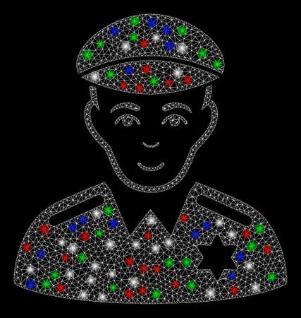 Bright mesh sheriff with glare effect. White wire carcass triangular mesh in vector format on a black background. Abstract 2d mesh created from triangular lines, round dots, colored light spots. Çizim