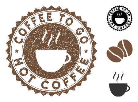 Coffee to Go Hot Coffee rubber round seal. Vector seal in chocolate color with coffee cup elements. Flat icons and retro texture are used for Coffee to Go rubber imprint.