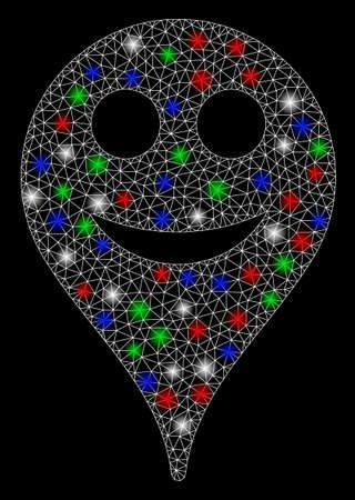 Bright mesh smile smiley map marker with glare effect. White wire carcass triangular mesh in vector format on a black background. Abstract 2d mesh designed with triangular lines, points,