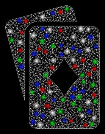 Bright mesh diamonds playing cards with glow effect. White wire carcass triangular mesh in vector format on a black background. Abstract 2d mesh designed with triangular lines, small circle, Ilustrace