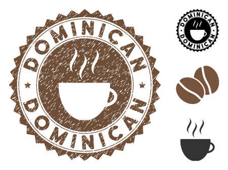Dominican rubber round seal. Vector seal in chocolate color with coffee cup elements. Flat icons and dirty texture are used for Dominican rubber imprints.