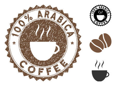 100% Arabica Coffee rubber round stamp. Vector stamp in chocolate color with coffee cup elements. Flat icons and corroded texture are used for 100% Arabica Coffee rubber imprints.